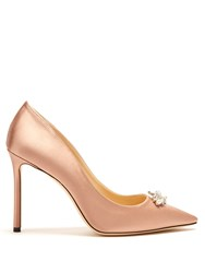 Jimmy Choo Alexa 100Mm Crystal Embellished Satin Pumps Pink