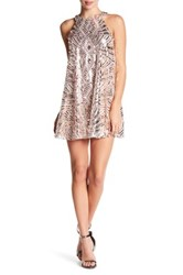 City Triangles Sequin Sleeveless Halter A Line Dress Multi