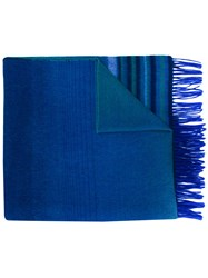 Paul Smith Ps By Tonal Tassel Trimmed Scarf Blue