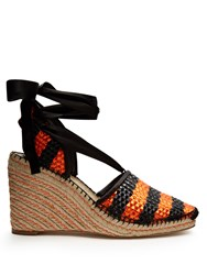 Balenciaga Bazar Striped Raffia Effect Wedge Espadrilles Black Orange