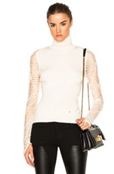Esteban Cortazar Cropped Turtleneck Sweater In White
