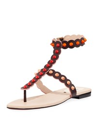 Fendi Studded Ankle Wrap Flat Thong Sandal Brown