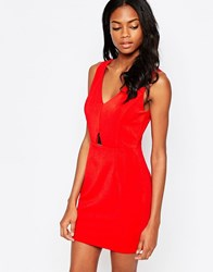Ax Paris Bodycon Dress With Gold Plate Detail Red