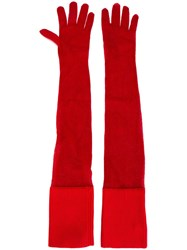Maison Martin Margiela Mm6 Long Gloves Red
