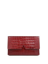 Vince Signature Collection Medium Crocodile Embossed Clutch Chambray Bordeaux Black