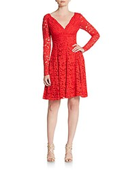 Vera Wang Long Sleeve Lace Fit And Flare Dress Red