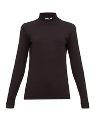 Vetements Collar Embroidered Cotton Jersey Top Black