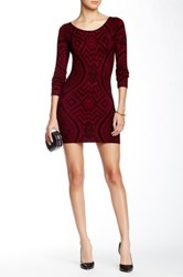 Papillon Long Sleeve Scoop Neck Sweater Dress Red