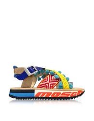Moschino Techno Multicolor Fabric And Leather Platform Sandal W Light Blue Pompom