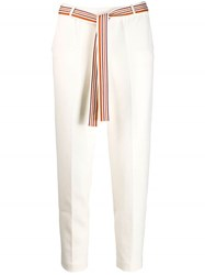 Loro Piana Belted Cropped Trousers White