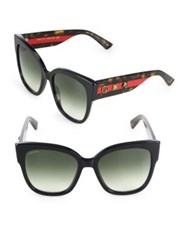 Gucci 55Mm Oversized Studded Square Cat's Eye Sunglasses Black Red
