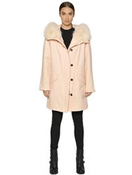 Army Fur Cotton Canvas Parka W Lapin Lining