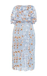 Katie Ermilio Floral Guipure Ruffle Column Midi Dress Blue Orange White