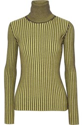 Mcq By Alexander Mcqueen Ribbed Cotton Turtleneck Sweater Bright Yellow