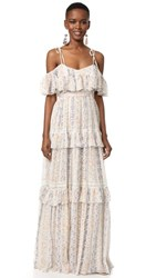 Needle And Thread Floral Stripe Maxi Dress Rose Beige