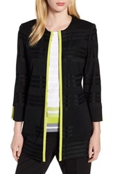 Ming Wang Long Jacquard Knit Jacket Black Pear White
