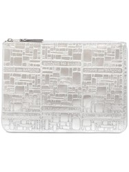 Comme Des Garcons Wallet Embossed Leather Zip Pouch Metallic