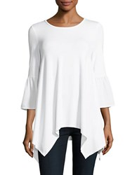 Imnyc Isaac Mizrahi Fitted Bell Sleeve Tunic White