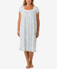Eileen West Plus Size Lace Trimmed Printed Knit Waltz Length Nightgown Botany Print