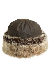 Barbour Women's 'Ambush' Waxed Cotton Hat With Faux Fur Trim Green Olive
