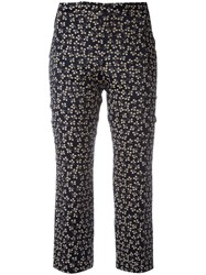 Ganni Printed Cropped Trousers Blue