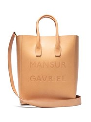Mansur Gavriel Logo Ns Leather Tote Brown Multi