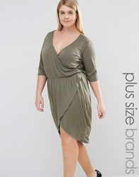 Pink Clove Plunge Front Wrap Dress Green