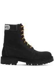 Vetements Trucker Leather Boots W Logo Patch Black