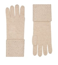 William Sharp Cashmere Embellished Trim Gloves Beige