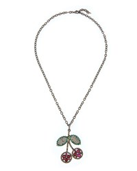 Siena Lasker Ruby Cherry Pendant Necklace With Emeralds And Diamonds