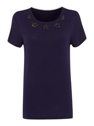 Dickins And Jones Embellished Top Navy