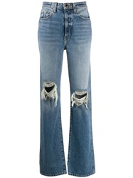 Khaite Ripped High Rise Straight Jeans 60