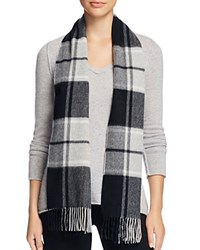 Bloomingdale's C By Cashmere Plaid Scarf Black Pale Gray Camel