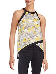 Collective Concepts Printed Tulip Top Yellow Multi