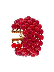 Chanel Vintage Five Tier Beaded Bracelet Red