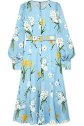 Andrew Gn Belted Floral Print Silk Midi Dress Blue