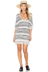 Chaser Fringe V Neck Sweater Dress Gray