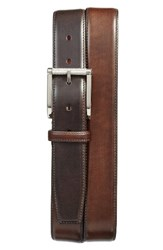 Santoni Men's Hand Antiqued Leather Belt