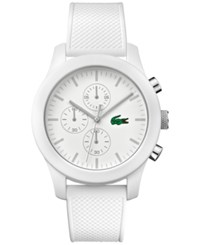 Lacoste Men's Chronograph 12.12 White Silicone Strap Watch 44Mm 2010823