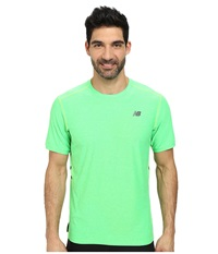 New Balance Shift Short Sleeve Top Chemical Green Heather Men's Short Sleeve Pullover