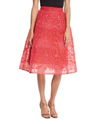 Monique Lhuillier Sequin Embroidered Tulle Skirt Rose