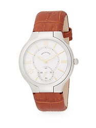 Philip Stein Teslar Round Stainless Steel Tan Calf Leather Strap Watch Tan Silver