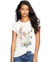 Denim And Supply Ralph Lauren Dream Catcher Draped Tee Antique Cream Dream Deer