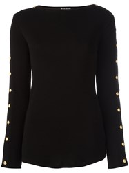 Balmain Button Sleeve Pullover Black