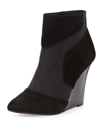 Report Signature Iliana Suede Wedge Bootie Black