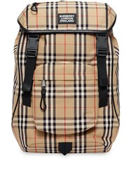 Burberry Logo Detail Vintage Check Backpack Neutrals