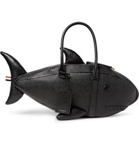 Thom Browne Shark Pebble Grain Leather Tote Bag Black