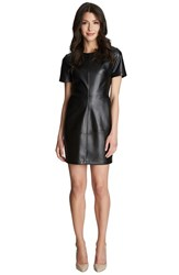 Women's 1.State Faux Leather And Ponte Shift Dress Rich Black