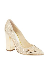 Pollini Mirrored Tribal Pumps Beige Gold