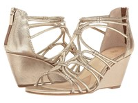 Isola Floral Satin Gold Grid Metallic Women's Wedge Shoes